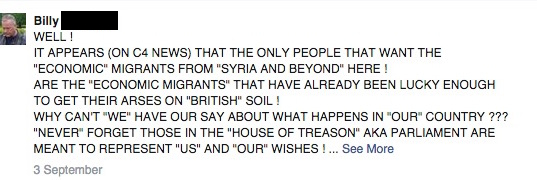 Facebook post making anti-refugee comments about Syrian refugees